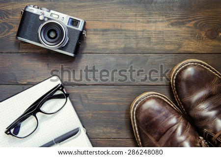 set of cool stuff on wooden background