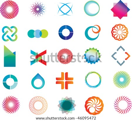 set of corporate logos symbols and marks - stock photo