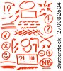 Set of correction and highlight elements. Circles, arrows, lines etc. Hand drawn with marker pen - stock vector