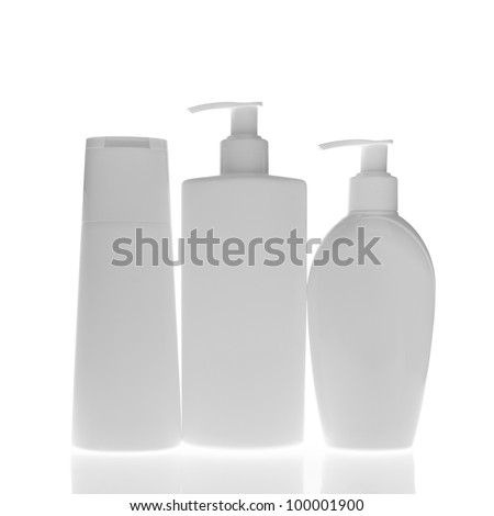 set of cosmetic bottles isolated on white background