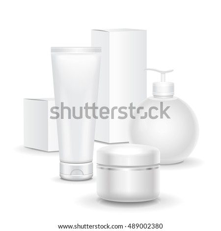 Set of cosmetic cream products on a white background. package collection cream, soups, for advertising, magazine cover or poster blank mokup
