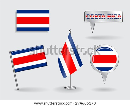 Set of Costa Rican pin, icon and map pointer flags. Raster version - stock photo