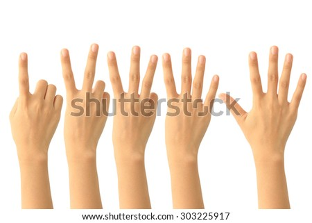 Set of counting hand sign isolated on white background