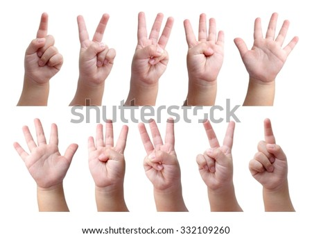 Set of counting hand sign of kid isolated on white - stock photo