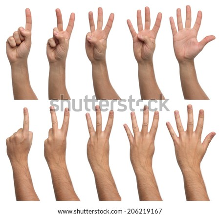 Set of counting hands isolated on white background