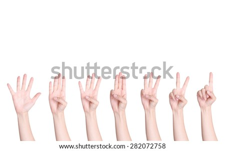 set of Counting hands on white background - stock photo