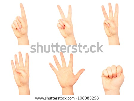 Set of counting human hands isolated on white background - stock photo