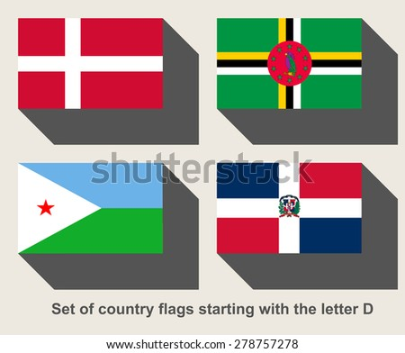 Set of country flags starting with the letter D - stock photo
