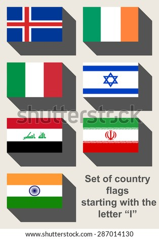 Set of country flags starting with the letter I. - stock photo