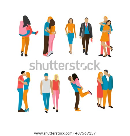 Set of couples in love. People characters in different situations and poses isolated on white background. Lovers kiss and hug each other.