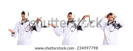 Set of Crazy doctor over white background - stock photo