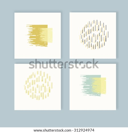 set of creative card with abstract hand draw graphic and autumn design elements