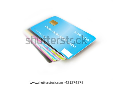 Set of credit card isolated on white background