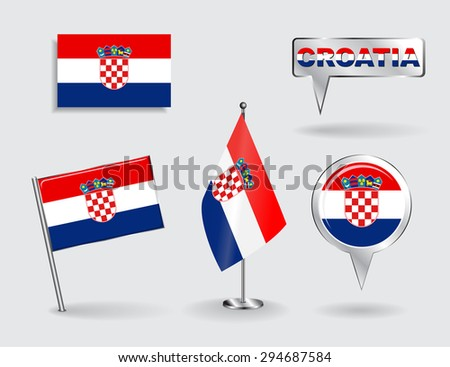 Set of Croatian pin, icon and map pointer flags. Raster version - stock photo