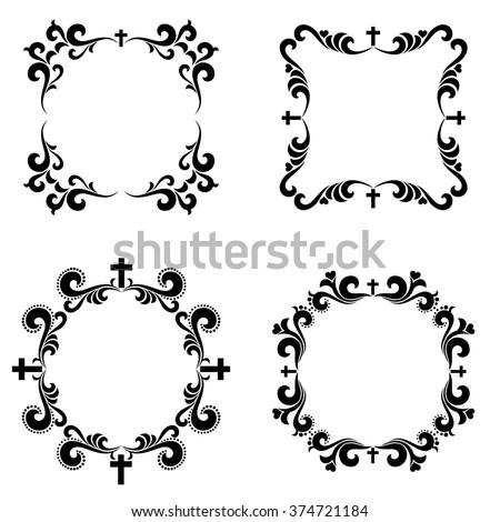 Set of crosses isolated on White background. Black and white ornate frame. Christian Symbol.  illustration - stock photo
