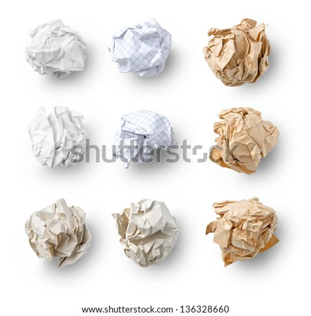 Set of  Crumpled Paper- School Squared, Office and Brown Craft  isolated on white background - stock photo