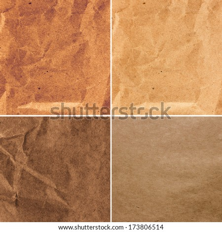 Set of  Crumpled recycled paper  texture or backgrounds in natural pastel colors. Collection of   Vintage craft paper texture. - stock photo