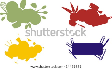 Set of culinary labels on white background - stock photo