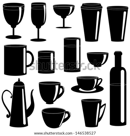 Set of cups and glasses silhouettes isolated on white. Raster version.