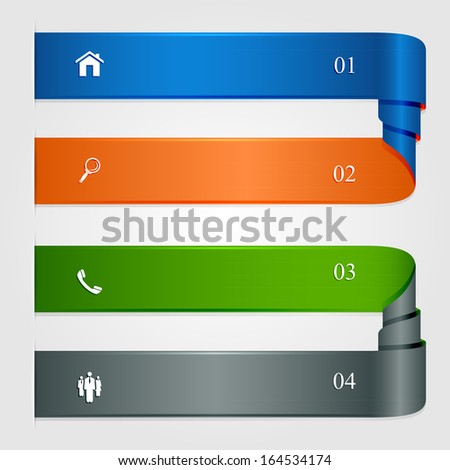 Set of curled infographic ribbons, numbered options, modern design, business options banner, can be used for diagram, illustration.