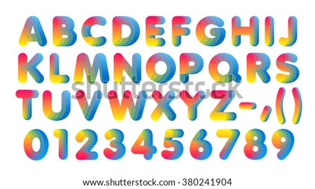 Set of cut paper letters and numbers from 1 to 0. Colors of the rainbow. Spectrum. - stock photo