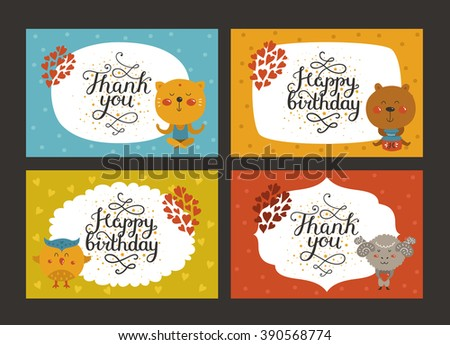 Set of Cute animal cards with lettering and baby animals in love. Cat, bear, owl, merinos. Greeting animal card, Thank you, Happy birthday - stock photo