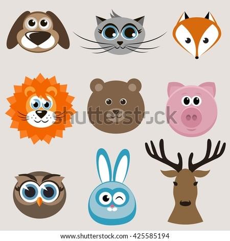 Set of cute animals. Raster version - stock photo