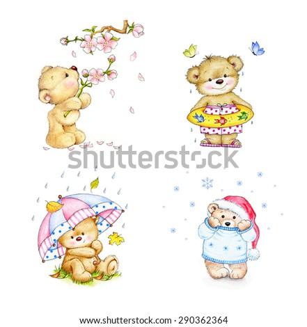 Set of cute baby bears in four seasons - stock photo