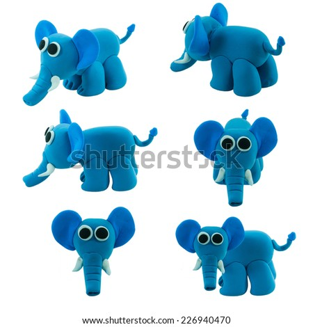 set of cute blue elephant made from plasticine - stock photo