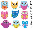 Set of cute, bright owls. Jpeg version - stock vector