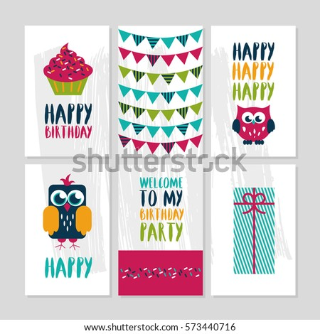 set 6 cute creative cards templates stock illustration 573440716