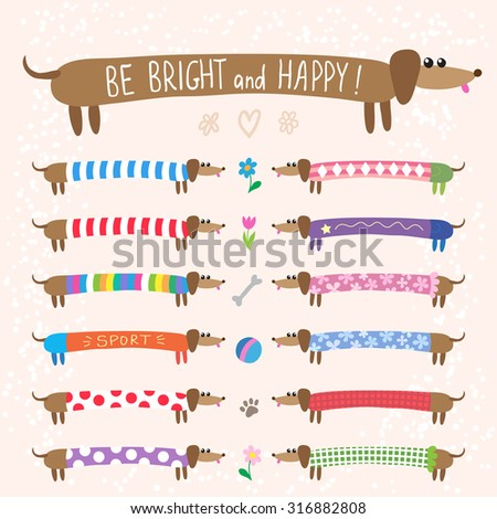 Set of cute dachshunds dog in bright multicolored clothing - stock photo
