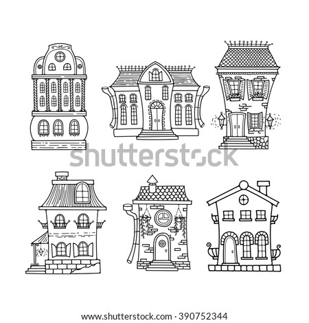 Set of cute doodle houses. Elegant sketches. Elements for coloring. - stock photo