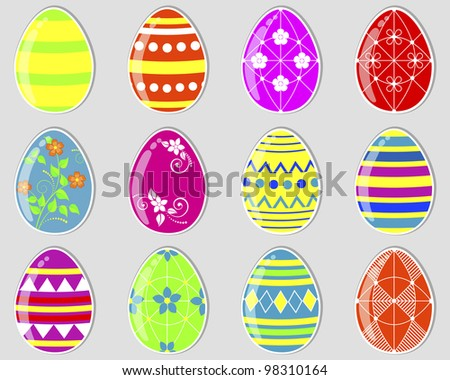Set of cute easter eggs stickers. Raster version. - stock photo