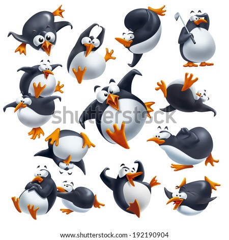 Set of cute funny penguins isolated on white with different expressions and poses. - stock photo
