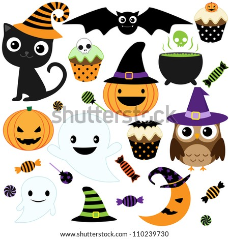 Set of cute Halloween elements, objects and icons. Raster version. - stock photo