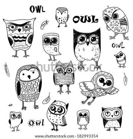Set of cute owls. - stock photo