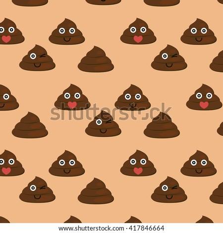 Set of cute poop texture. Diferent poop icon - stock photo