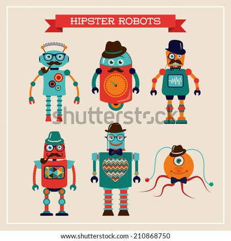 Set of cute retro hipster robots. Illustration. Image