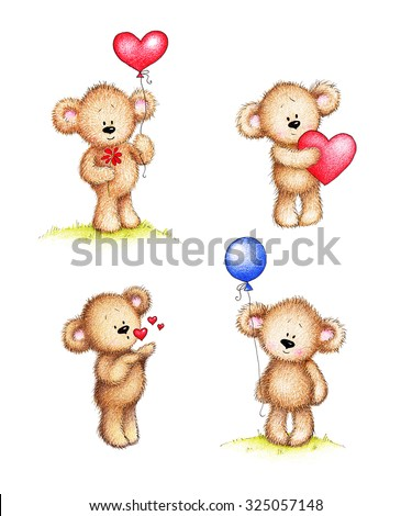 Set of cute teddy bears on white background - stock photo