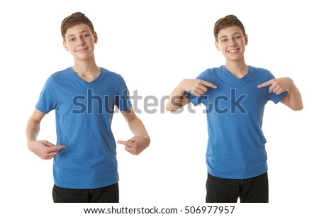 Set of cute teenager boy in blue T-shirt pointing himself over white isolated background, half body