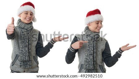 Set of cute teenager boy in gray sweater and christmas hat holding something over white isolated background, half body