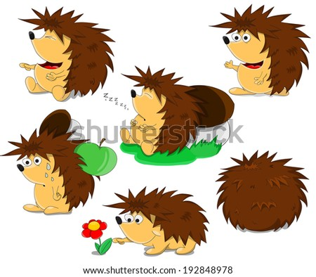 Set of cute unusual cartoon hedgehogs  - stock photo
