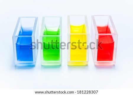 Set of cuvettes with color liquid