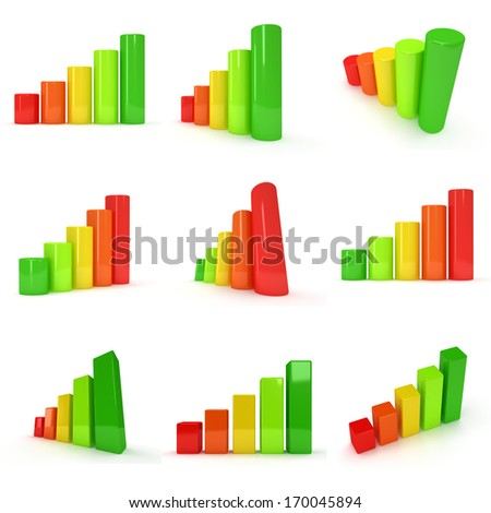 Set of 3d colored bar graph on white.  Green, yellow, orange, red colors. Progress, business concept. - stock photo