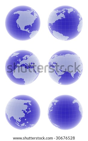 set of 3d globes with different angles