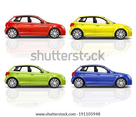 Set of 3D Hatchback Car. - stock photo