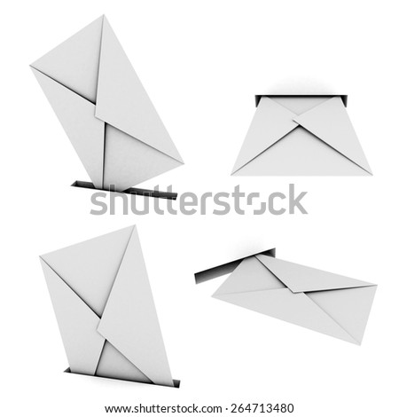 Set of 3d images of letters and holes on white background.