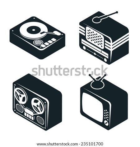 Set of 3D Isometric Icons of Retro Media Devices in Black and White Color on White Background. - stock photo