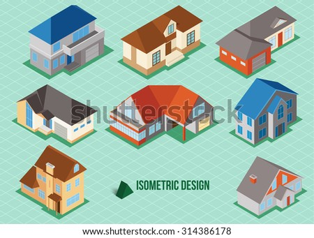 Set of 3d isometric private house icons for map building. Real estate concept - stock photo